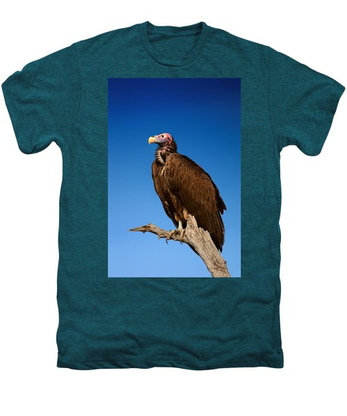 Lappetfaced Vulture Against Blue Sky Men's Premium T-Shirt by Johan Swanepoel