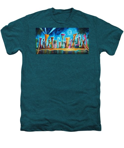 Miami City South Beach Original Painting Tropical Cityscape Art Miami Night Life By Madart Absolut X Men's Premium T-Shirt by Megan Duncanson