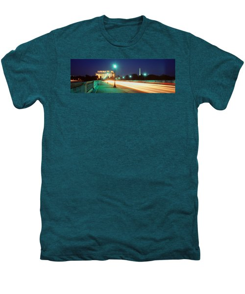 Night, Lincoln Memorial, District Of Men's Premium T-Shirt by Panoramic Images