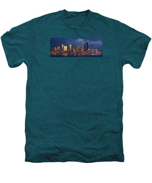 Seattle Skyline Sunset Detail Men's Premium T-Shirt by Mike Reid