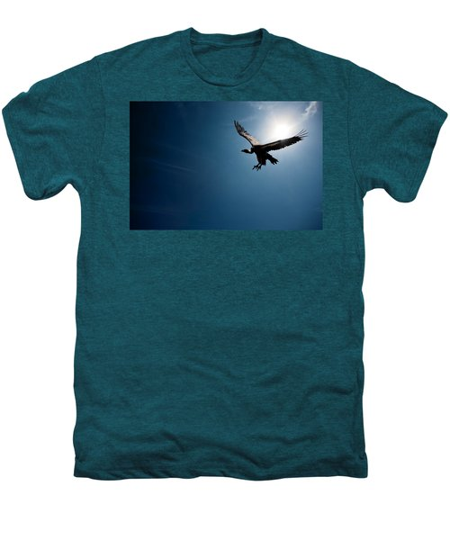 Vulture Flying In Front Of The Sun Men's Premium T-Shirt by Johan Swanepoel