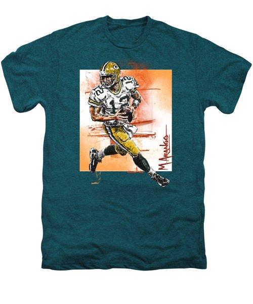 Aaron Rodgers Scrambles Men's Premium T-Shirt by Maria Arango