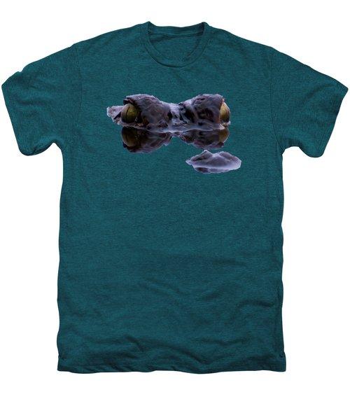 Alligator Eyes On The Foggy Lake Men's Premium T-Shirt by Zina Stromberg
