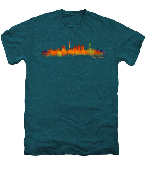 Barcelona City Skyline Hq V2 Men's Premium T-Shirt by HQ Photo