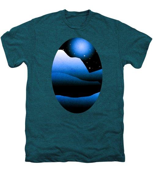 Blue Moon Mountain Landscape Art Men's Premium T-Shirt by Christina Rollo