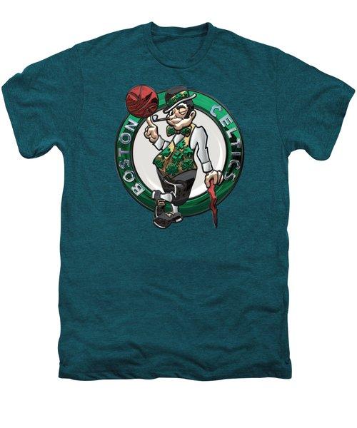 Boston Celtics - 3 D Badge Over Flag Men's Premium T-Shirt by Serge Averbukh