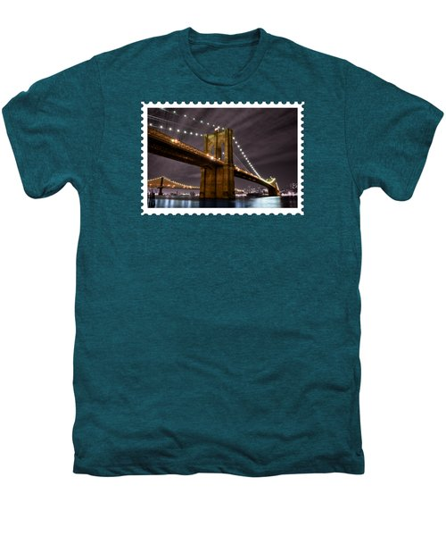 Brooklyn Bridge At Night New York City Men's Premium T-Shirt by Elaine Plesser