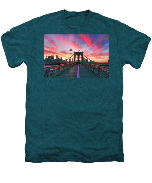 Brooklyn Sunset Men's Premium T-Shirt by Rick Berk
