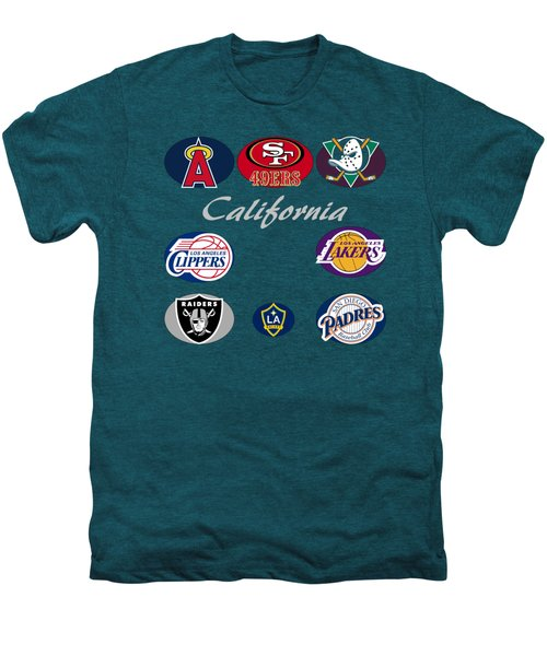 California Professional Sport Teams Collage  Men's Premium T-Shirt by Movie Poster Prints