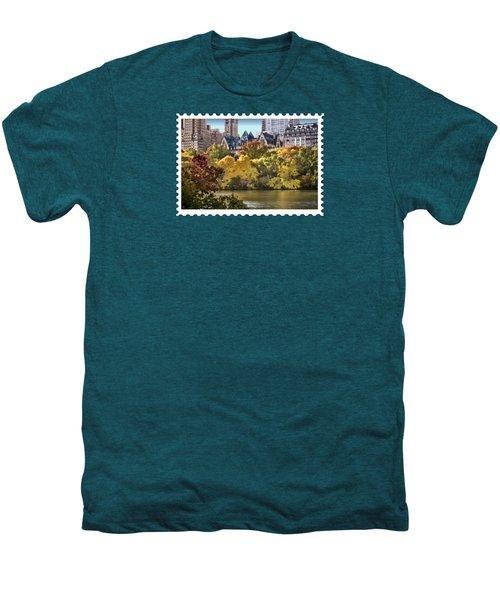 Central Park Lake In Fall Men's Premium T-Shirt by Elaine Plesser