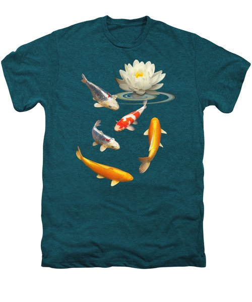 Colorful Koi With Water Lily Men's Premium T-Shirt by Gill Billington