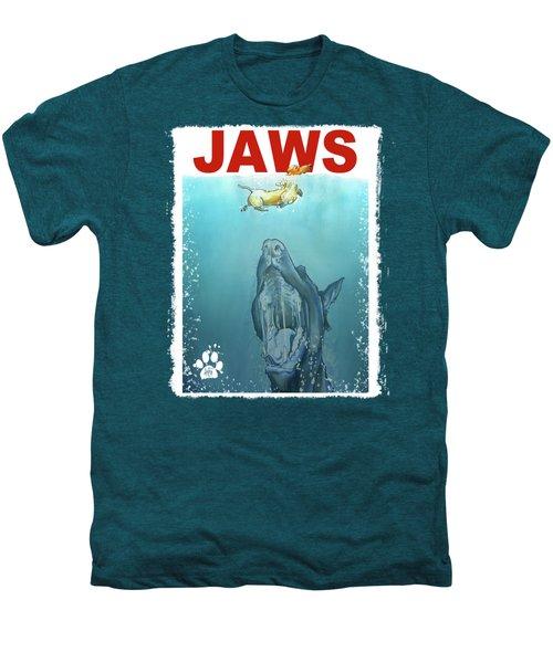 Dog-themed Jaws Caricature Art Print Men's Premium T-Shirt by John LaFree