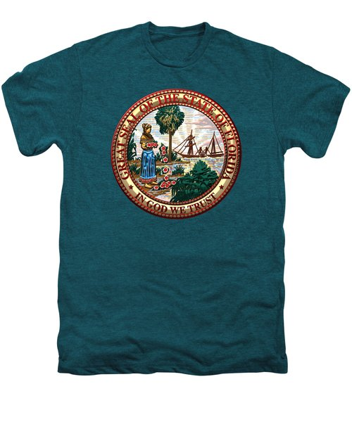 Florida State Seal Over Blue Velvet Men's Premium T-Shirt by Serge Averbukh