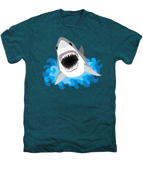 Great White Shark Leaps From Waves Men's Premium T-Shirt by Antique Images