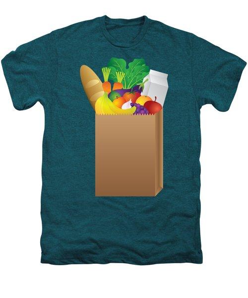 Grocery Paper Bag Of Food Illustration Men's Premium T-Shirt by Jit Lim