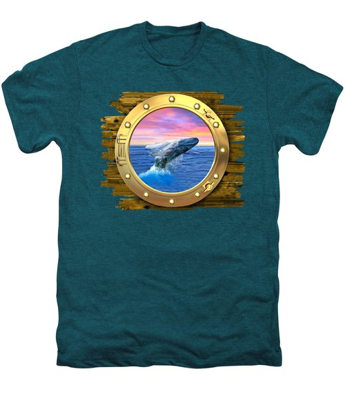 Humpback Whale Breaching At Sunset Men's Premium T-Shirt by Glenn Holbrook
