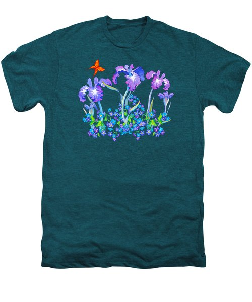 Iris Bouquet With Forget Me Nots Men's Premium T-Shirt by Teresa Ascone