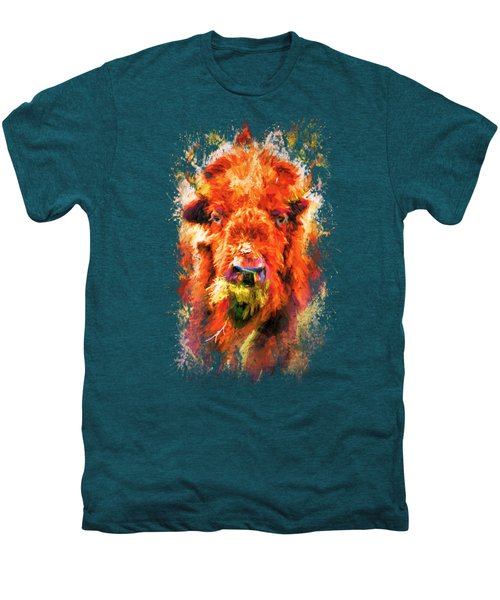 Jazzy Buffalo Colorful Animal Art By Jai Johnson Men's Premium T-Shirt by Jai Johnson