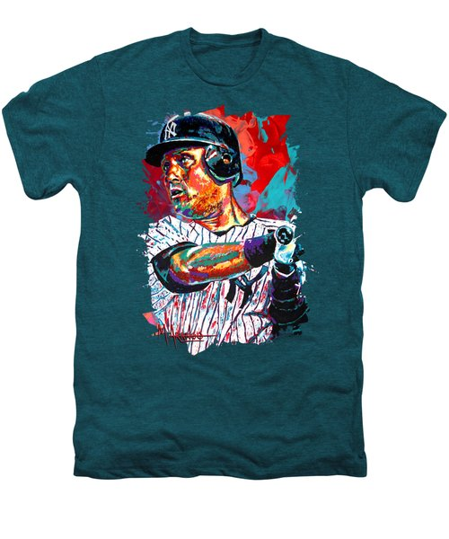 Jeter At Bat Men's Premium T-Shirt by Maria Arango