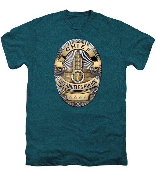 Los Angeles Police Department  -  L A P D  Chief Badge Over Blue Velvet Men's Premium T-Shirt by Serge Averbukh