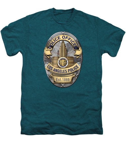 Los Angeles Police Department  -  L A P D  Police Officer Badge Over Blue Velvet Men's Premium T-Shirt by Serge Averbukh