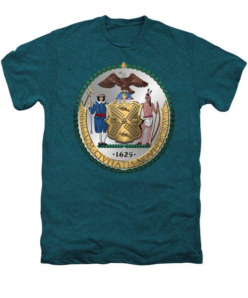 New York City Coat Of Arms - City Of New York Seal Over Blue Velvet Men's Premium T-Shirt by Serge Averbukh