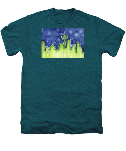 Seattle Night Sky Watercolor Men's Premium T-Shirt by Olga Shvartsur