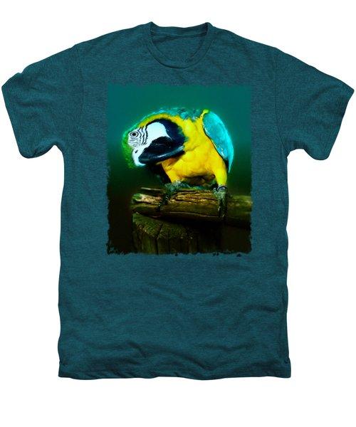 Silly Maya The Macaw Parrot Men's Premium T-Shirt by Linda Koelbel