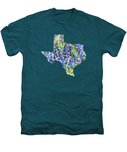 Texas Blue Texas Map On White Men's Premium T-Shirt by Hailey E Herrera