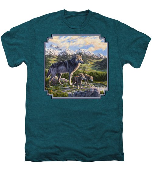 Wolf Painting - Passing It On Men's Premium T-Shirt by Crista Forest