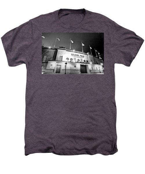 0879 Soldier Field Black And White Men's Premium T-Shirt by Steve Sturgill