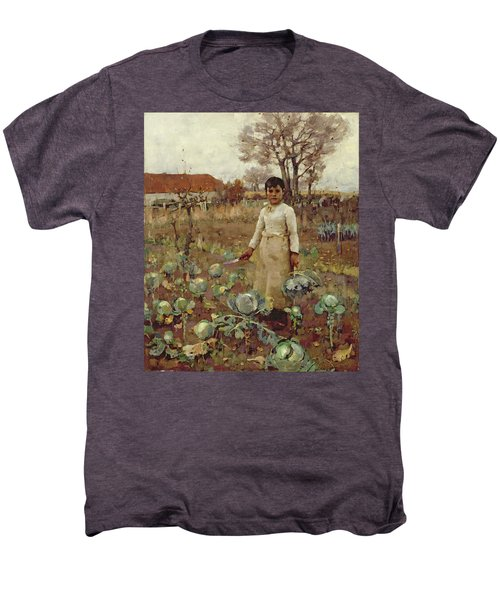 A Hinds Daughter, 1883 Oil On Canvas Men's Premium T-Shirt by Sir James Guthrie