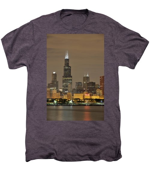 Chicago Skyline At Night Men's Premium T-Shirt by Sebastian Musial