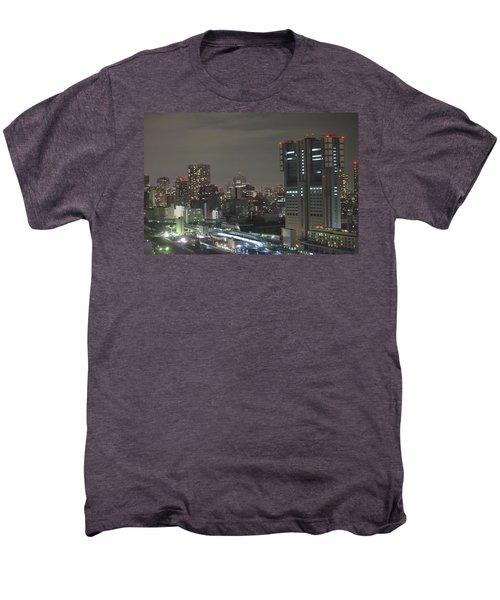 Docomo Tower Over Shinagawa Station And Tokyo Skyline At Night Men's Premium T-Shirt by Jeff at JSJ Photography