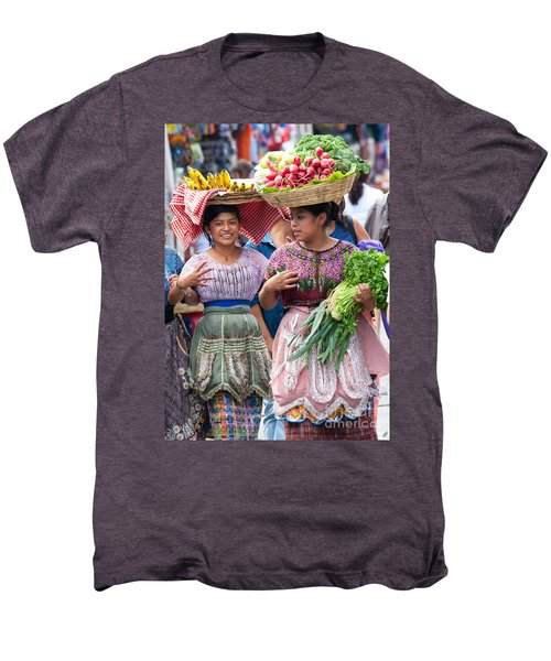 Fruit Sellers In Antigua Guatemala Men's Premium T-Shirt by David Smith