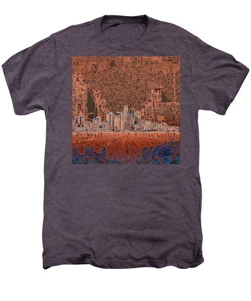 Los Angeles Skyline Abstract 7 Men's Premium T-Shirt by Bekim Art