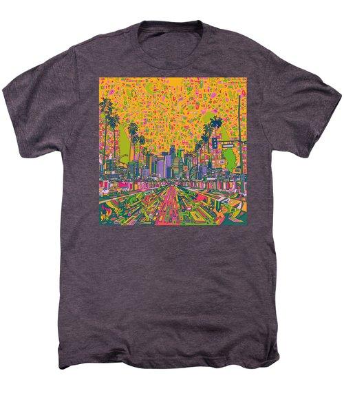 Los Angeles Skyline Abstract Men's Premium T-Shirt by Bekim Art