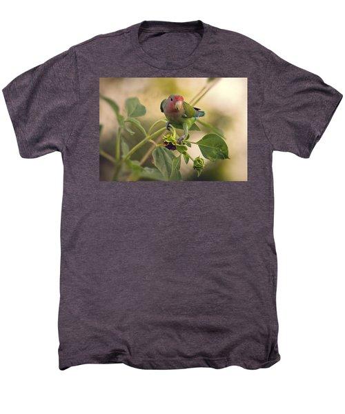 Lovebird On  Sunflower Branch  Men's Premium T-Shirt by Saija  Lehtonen