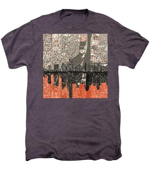 Miami Skyline Abstract 2 Men's Premium T-Shirt by Bekim Art