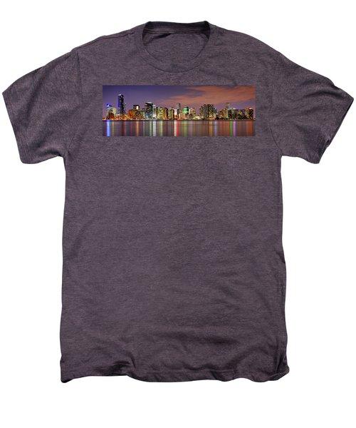 Miami Skyline At Dusk Sunset Panorama Men's Premium T-Shirt by Jon Holiday