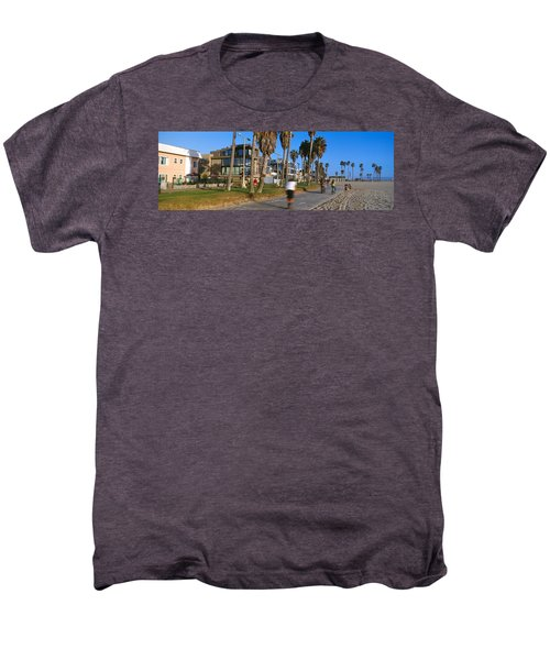 People Riding Bicycles Near A Beach Men's Premium T-Shirt by Panoramic Images
