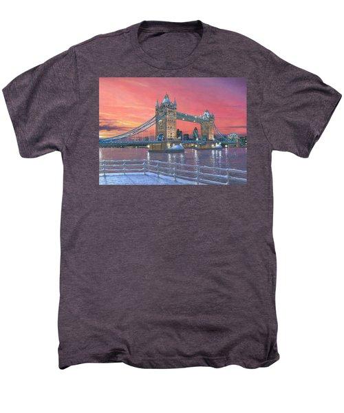 Tower Bridge After The Snow Men's Premium T-Shirt by Richard Harpum
