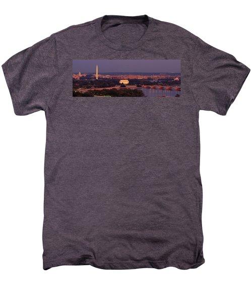 Usa, Washington Dc, Aerial, Night Men's Premium T-Shirt by Panoramic Images