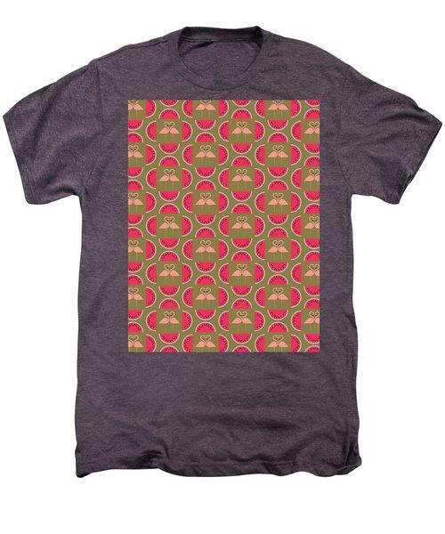 Watermelon Flamingo Print Men's Premium T-Shirt by Susan Claire