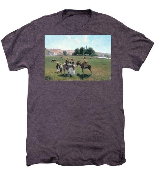 Donkey Ride Men's Premium T-Shirt by Camille Pissarro
