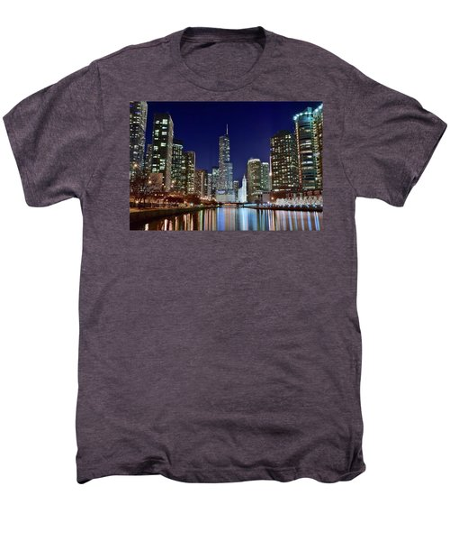 A View Down The Chicago River Men's Premium T-Shirt by Frozen in Time Fine Art Photography