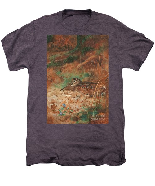 A Woodcock And Chick In Undergrowth Men's Premium T-Shirt by Archibald Thorburn