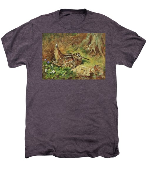 A Woodcock And Chicks Men's Premium T-Shirt by Archibald Thorburn
