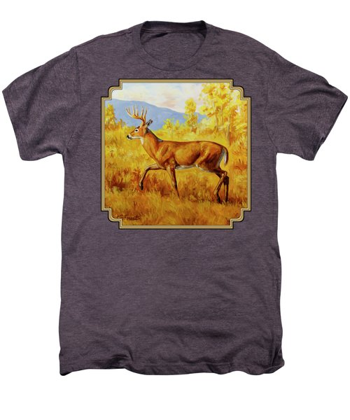 Whitetail Deer In Aspen Woods Men's Premium T-Shirt by Crista Forest