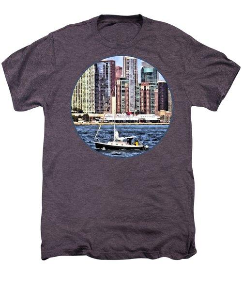 Chicago Il - Sailing On Lake Michigan Men's Premium T-Shirt by Susan Savad